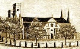 Skara Domkyrka före 1864 - Hospital lär här vid Domkyrkan blifvit anlagdt begåfvadt d 1 Aug 1293