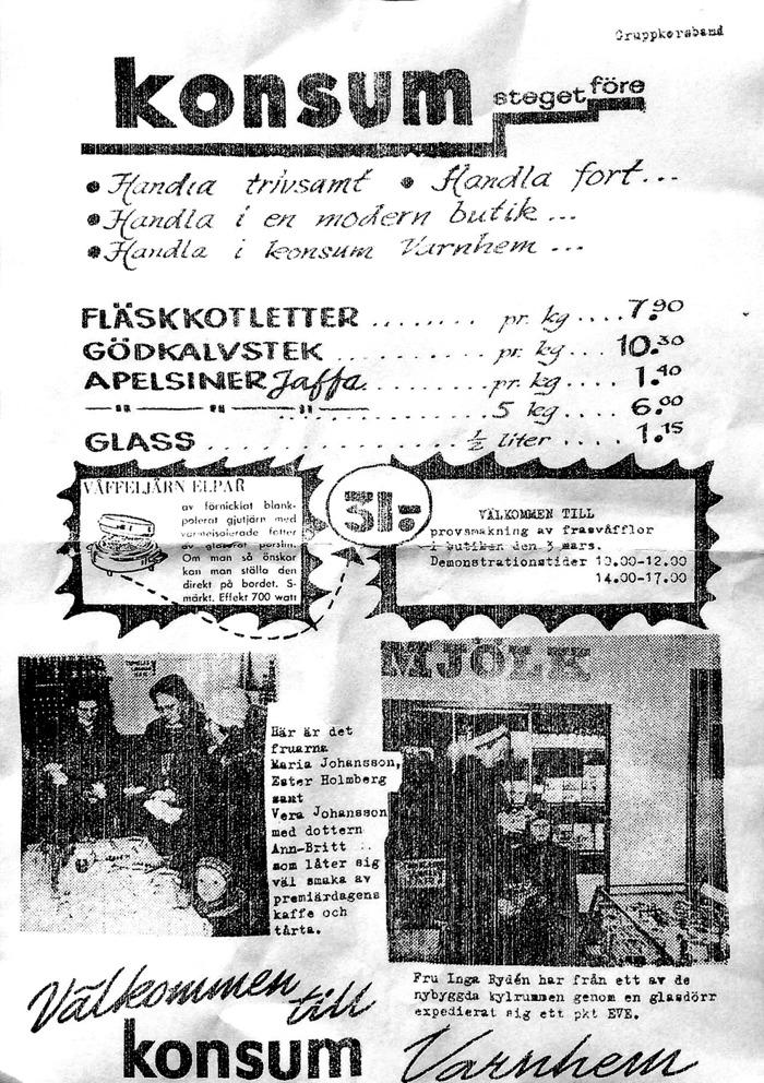 A. 21 (9) Gruppkorsband till alla Varnhems hushåll 1960-tal Konsum Varnhem - nu från Welins butik. Insatt av Kent Friman, 2016-11-28