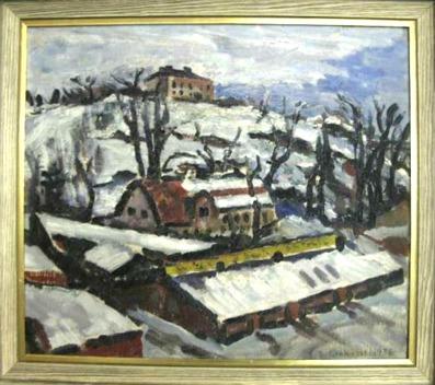 Oljemålning, Sven Ernkvist, Utsikt 1936, 40 x 45 Bild från Metropol Auktioner.