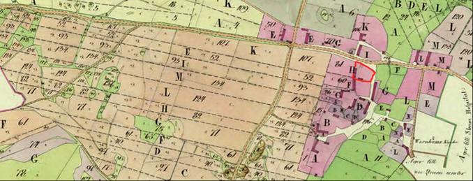 Klostrets by med sina samlade gårdar nära klosterkyrkan före Laga skfitet fastställt 1853 - karta 1804