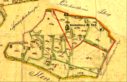 Soldattorp Nr 315 år 1844 markerat med rött