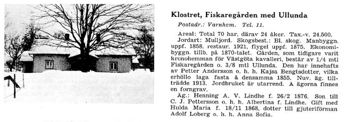 Fiskaregården 1942 ur Svenska Gods och Gårdar