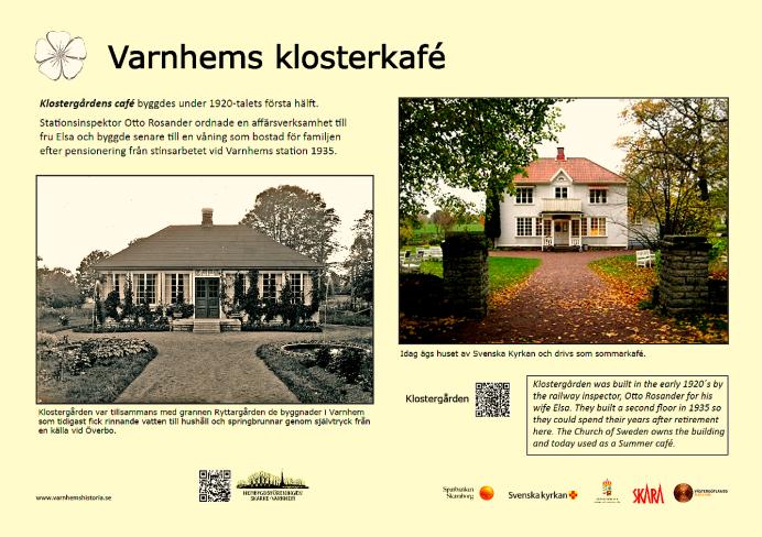 Varnhems Klosterkafé - historiefakta - urval; Kent Friman, grafisk utformning - Margareta Dahlin, 2018