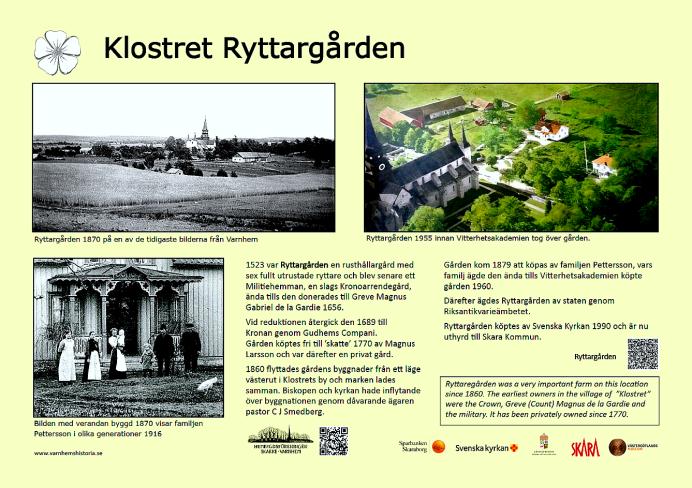 Klostret Ryttaregården - historiefakta - urval; Kent Friman, grafisk utformning - Margareta Dahlin, 2018
