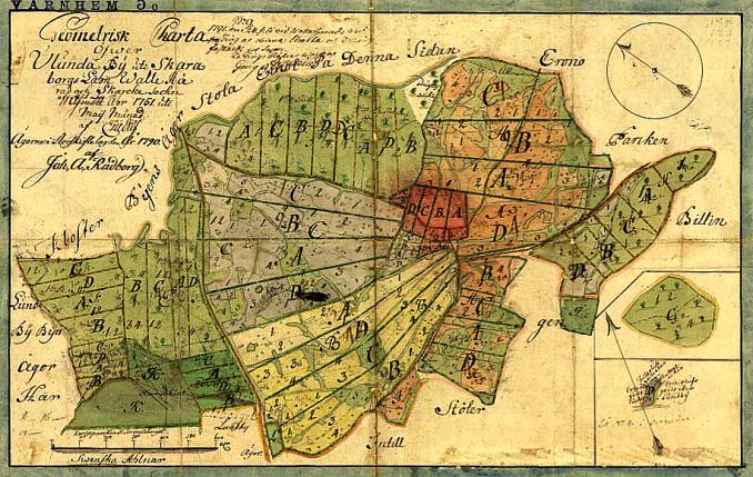 Ulunda by 1790 - på en geometrisk karta