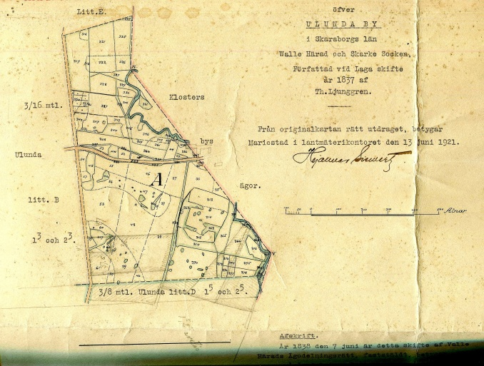 Karta från 1838 - originalutdrag från Hermanssons Stora Ulunda.