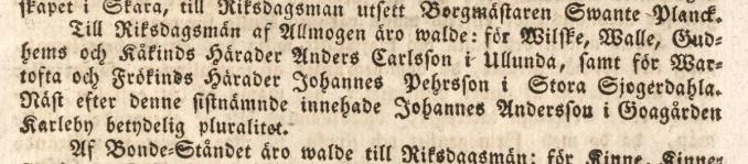 Anders Carlsson Skara tidning 1815-02-18