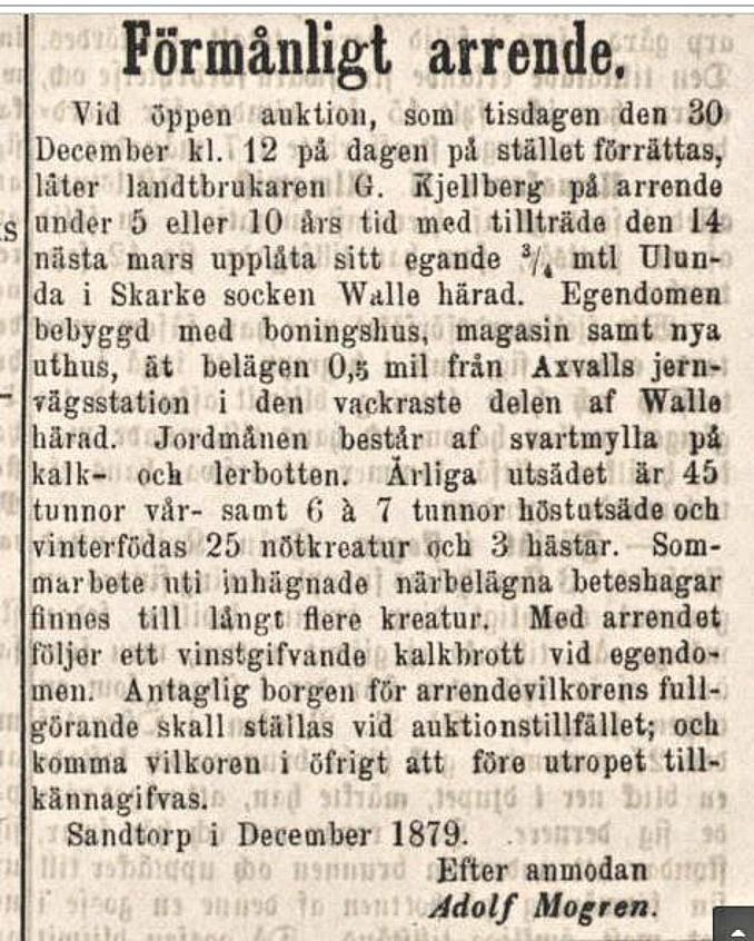 Kjellberg arr Falköpings tidning 1879-12-13 Ulunda
