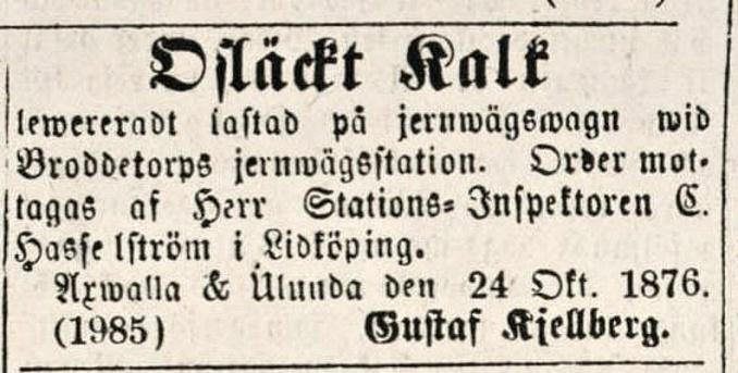 Kjellberg Lidköpings tidning 1876-11-08