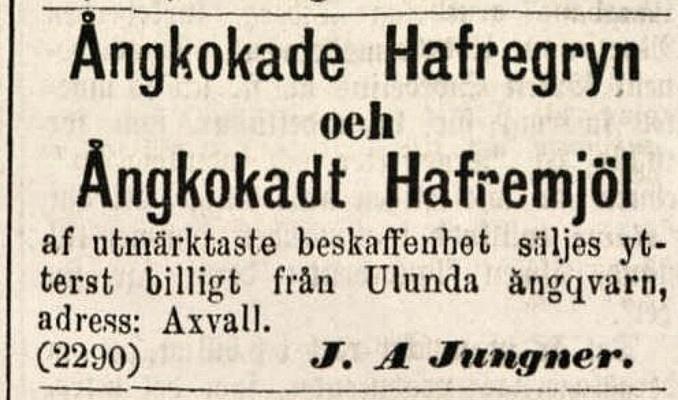 Annons grynkvarn Lidköpings tidning 1886-12-08