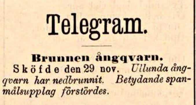 Ulunda brunnen kvarn Malmö Allehanda 1889-11-30