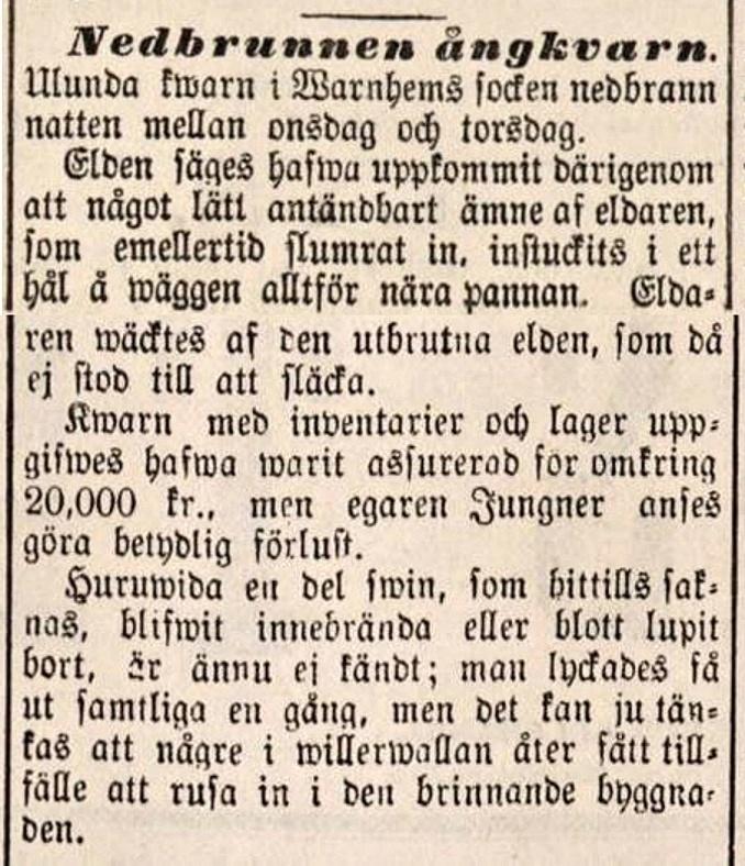 Ulunda nedbrunnen kvarn Lidköpings tidning 1889-11-30