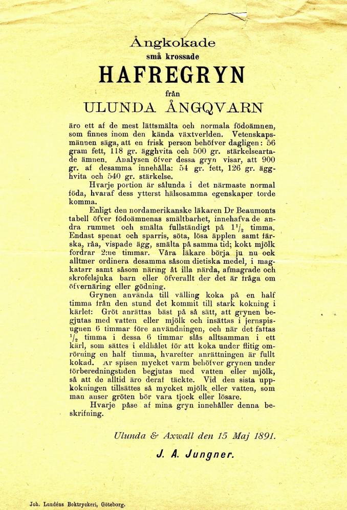 Ulunda Ångkvarn; Originaldokument från Kerstin och Bror Antbäck, Björsgården, Varnhem, 2015