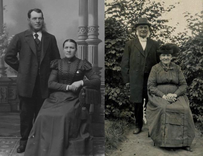 Disponent Sven Johan Svensson, född i Källby 1845-12-12, gift 1877-11-04, in m. fam. Skara 1903-10-30, Hustru Maja Andersdotter, född i Björsäter 1848-02-27