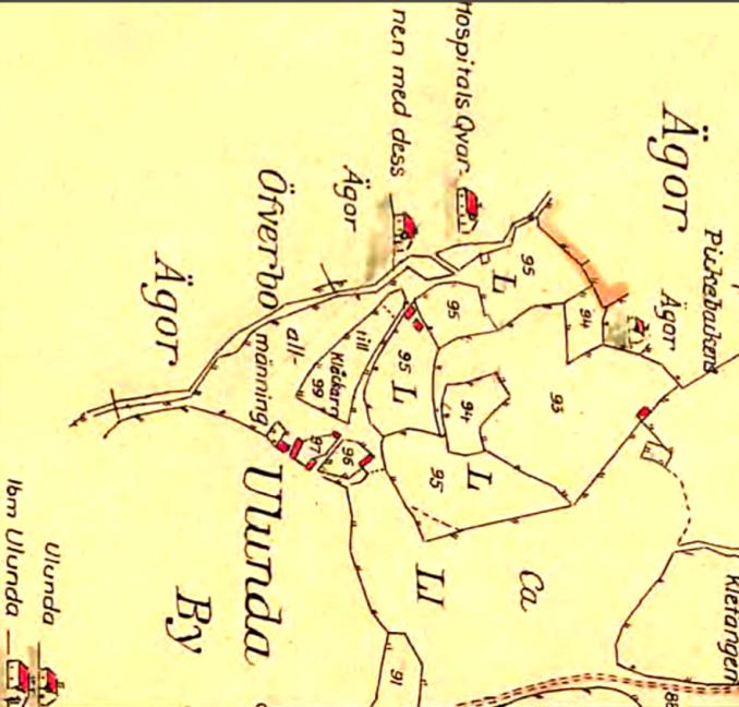 Ulunda by 1794 - tilldelning - Kartan vänd med norr rakt upp! Ungefärligt!