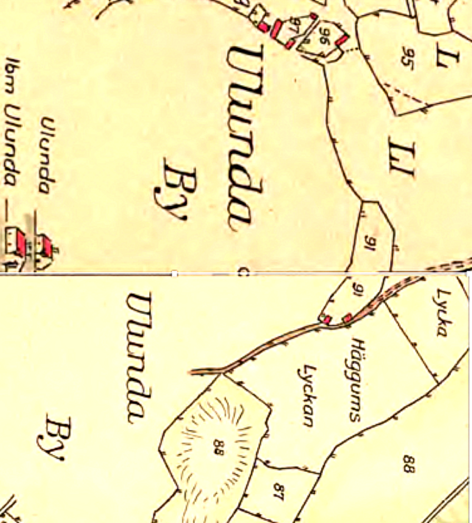 Ulunda by 1794 - tilldelning - Kartan vänd med norr rakt upp!