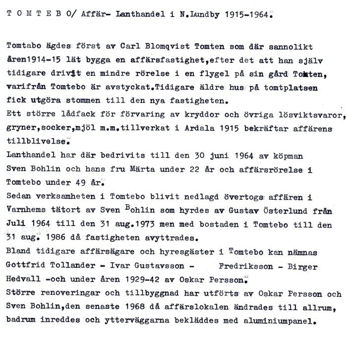 Text från Norra Lundby Sockegilles arkiv - 2019