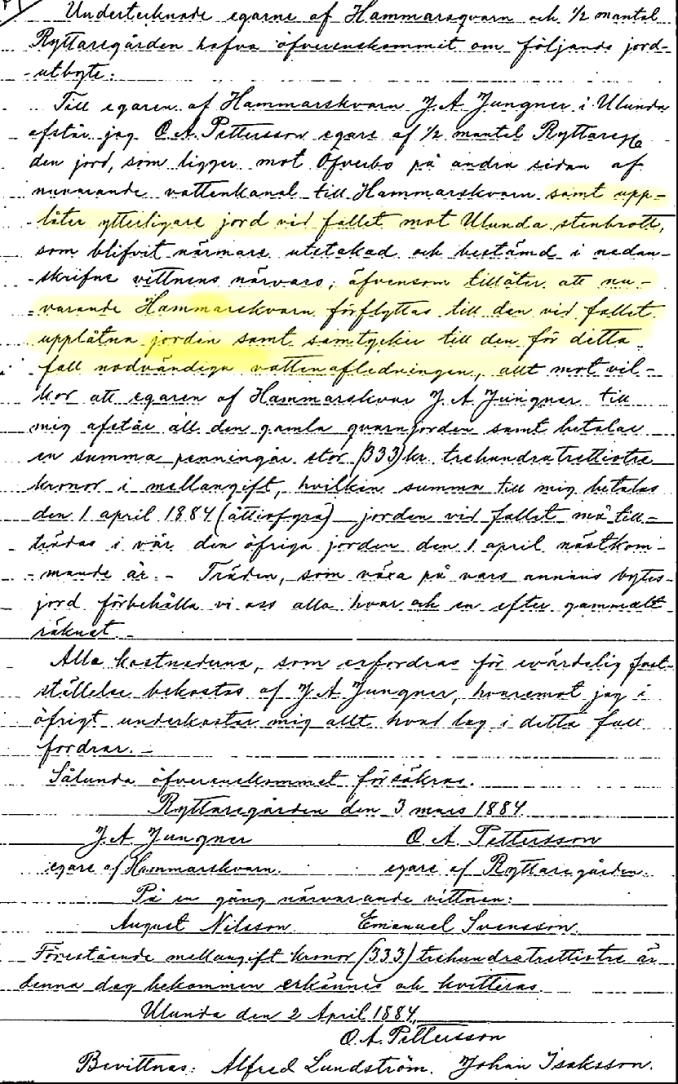 Utbyte mark Hammars kvarn m fl 1884