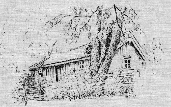 Gatan i Snålås - Krestins stuga tecknad av Gerd Silversparre