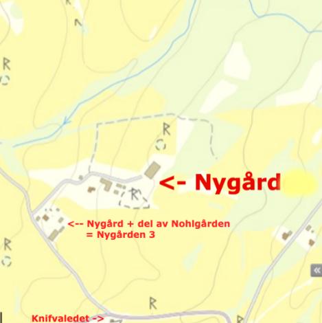 Nygården på karta från lantmäteriets sökfunktion med Nygården 3 söder om sig.. Delar av Ängerås gamla kyrkväg finns utmärkt på bilden med blågrå streck.