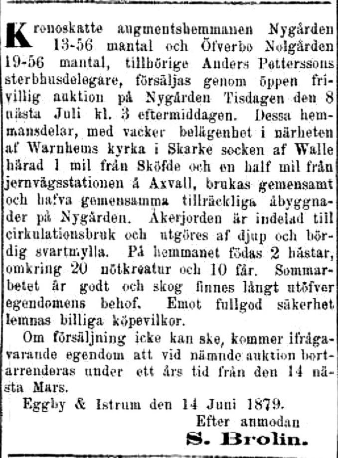 Annons försäljning Nygården 1879
