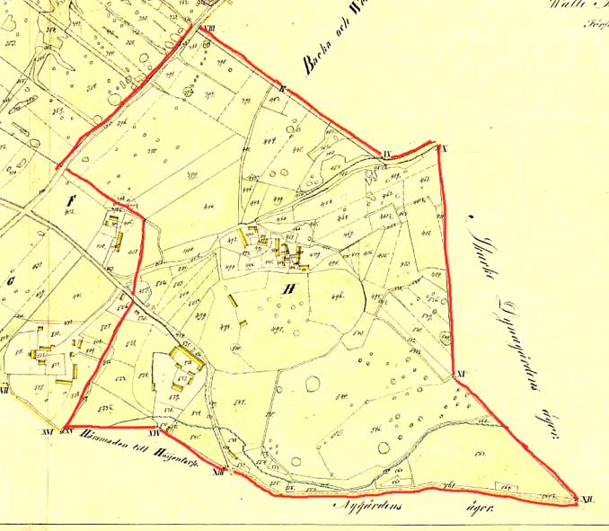 Prästgården 1839 - klicka på kartan för att se den större!