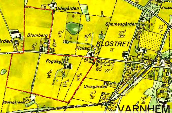 Fogdegården 1960 - Lantmäteriets Historiska kartor - klicka på kartan för att se den större!