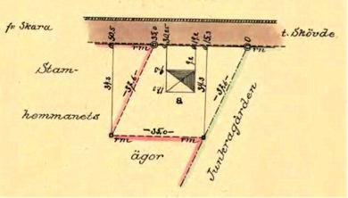 Turiststugan på karta 1925 inför formell avstyckning av marken. Turiststugan finns redan inritad på kartan och har alltså byggts tidigare! Klicka på kartan för att se den större!
