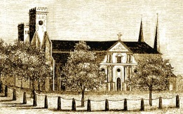 """Skara Domkyrka före 1864 - """"Hospital lär här vid Domkyrkan blifvit anlagdt begåfvadt d 1 Aug 1293"""""""