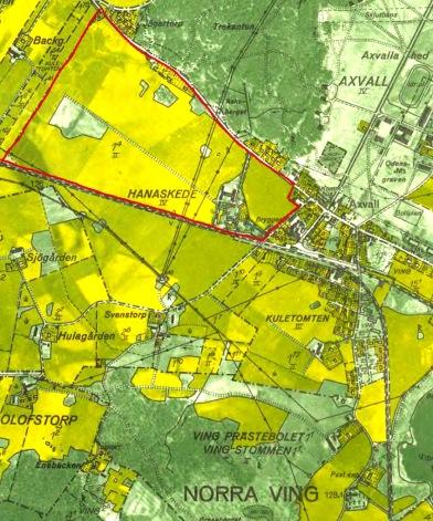 1960 års karta med Hanaskede och Vings  kyrka i nedre högra hörnet