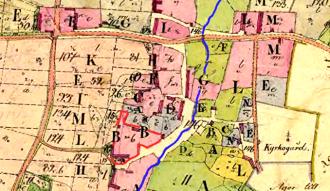 Ryttargården låg under tidigt 1600-tal på samma plats som på kartan 1805 - littera B