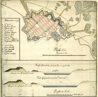Fästningen ritad av generalingenjören Johan Rudberg 1624 och uppförd  1624 - 1643 av Olof Örnehufvud biträdd av de två ingenjörerna kapten Johan Schultz och holländaren Johan Jacobssen Kuyl.