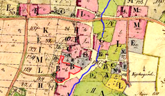 Ryttargården 1805 was placed at the same location as in 1640- littera B - marked with red lines - the churh is to the right (east) on the map and behind the Garden