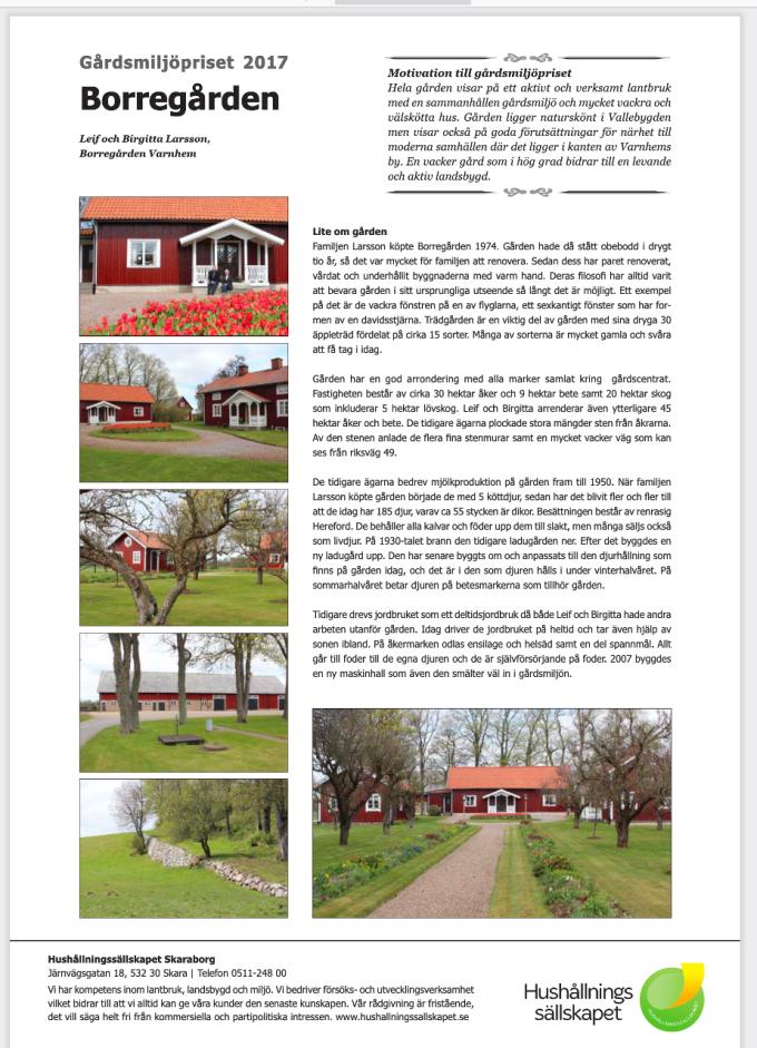 Artikeln hittas på; http://hushallningssallskapet.se/wp-content/uploads/2017/05/pristagare-borregarden-2017.pdf