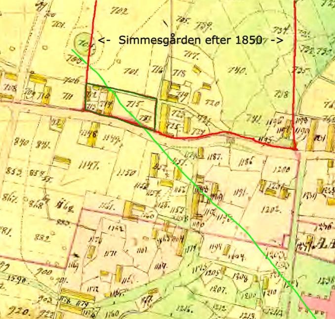 Fogdegårdens hus- och ldaugårdstomter markerat med grönt. Fogdegården 1804 siktlinje enligt fotot 1900 nedan!