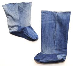 Första prototypen av duschstrumpan gjorde vi i jeanstyg.