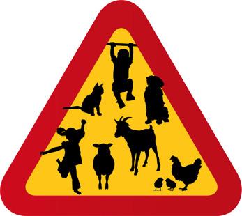 Barn, får, hund, get, höna, katt