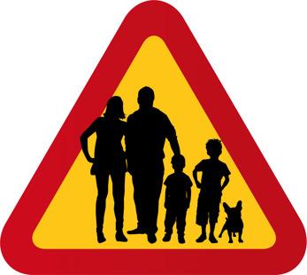 Familj med fransk bulldog