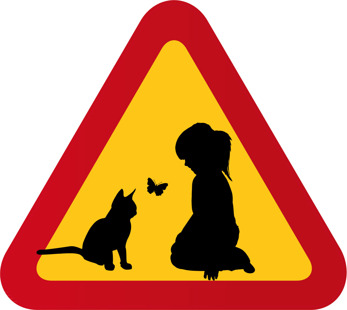 Flicka katt & fjäril