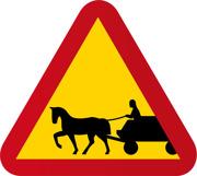 A32-1. Varning för fordon med förspänt dragdjur