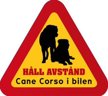 Dekal - Hund i bil Cane Corso - Hund i bil dekal varningstriangel Cane Corso 2 st