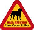 Dekal - Hund i bil Cane Corso - Hund i bil dekal varningstriangel Cane Corso 1 st