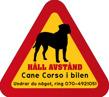 Dekal - Hund i bil Cane Corso - Hund i bil dekal varningstriangel Cane Corso 1 st med egen text