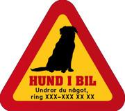 Dekal - Hund i bil med mobilnummer 3