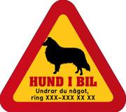 Dekal - Hund i bil med mobilnummer 15