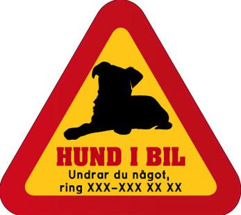 Dekal - Hund i bil med mobilnummer 10