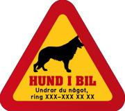 Dekal - Hund i bil med mobilnummer 28