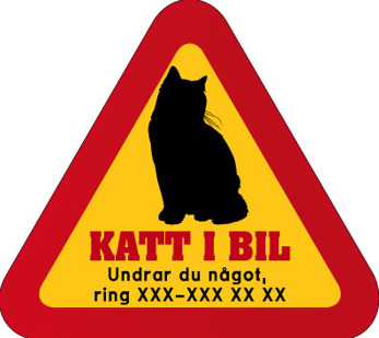 Dekal - Katt i bil med mobilnummer 1
