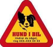 Dekal - Hund i bil med mobilnummer 67