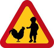 Varningsskylt Barn & tupp